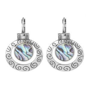 3/$20 New Silver Abalone Round Dangle Earrings